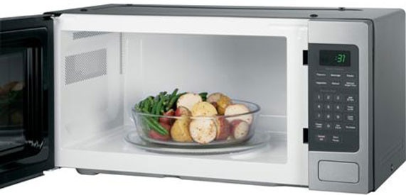 GE PEM31DFWW 1.1 cu. ft. Countertop Microwave Oven with 800 Watts, 10 ...