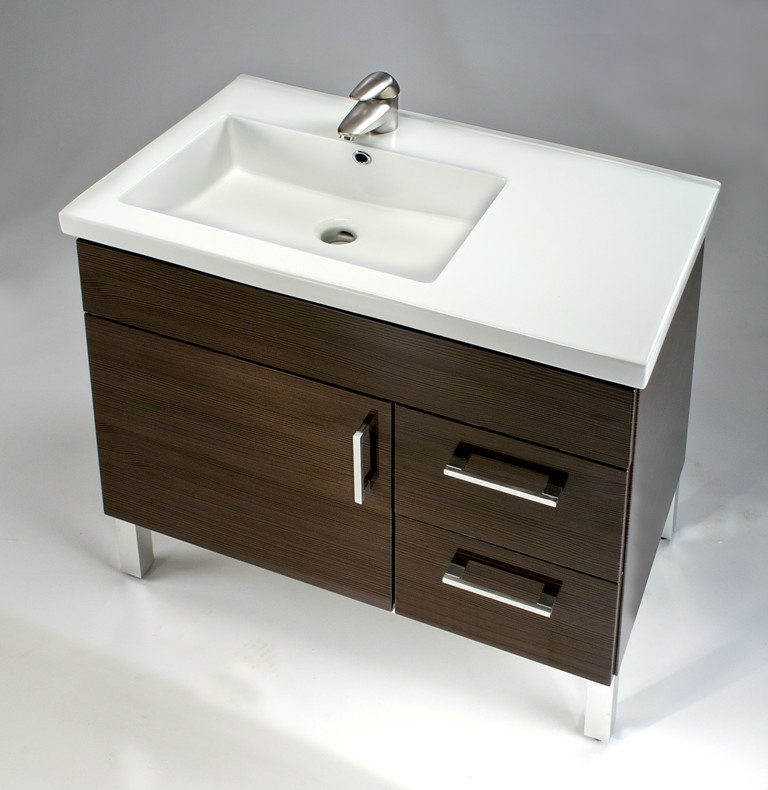 Empire industries df3012bnpr 30 inch contemporary vanity - Bathroom vanity with drawers on left ...