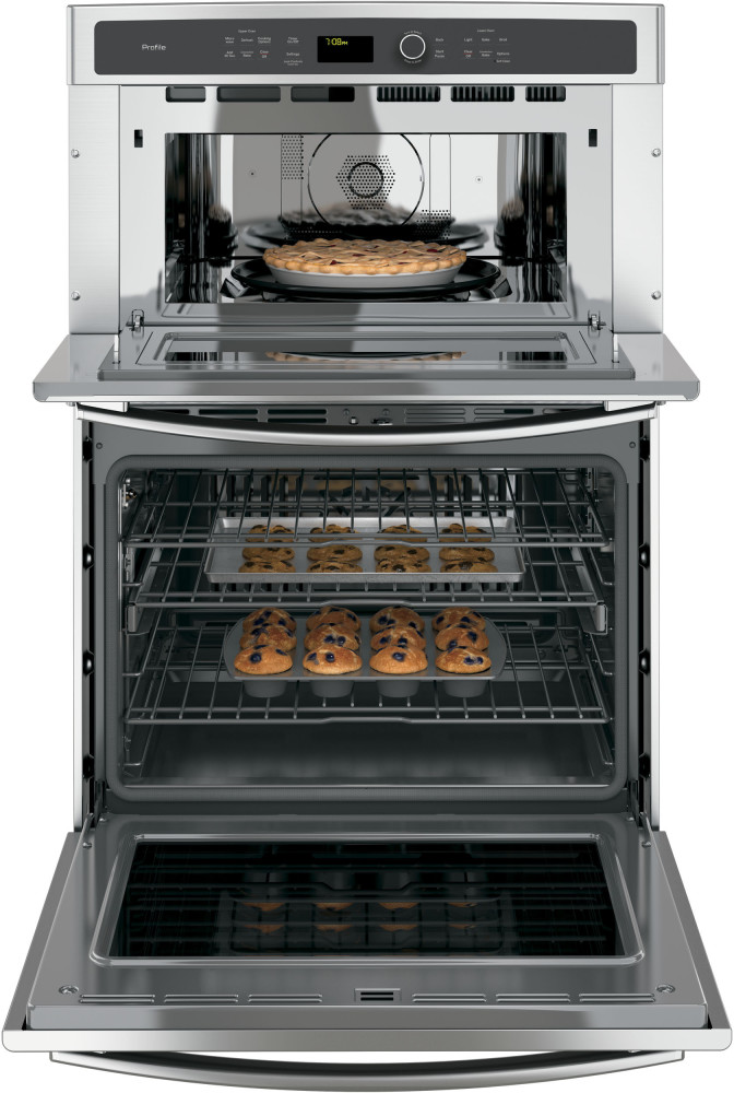 Ge Pt7800shss 30 Inch Combination Wall Oven With 5 0 Cu